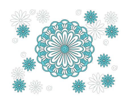 Turquoise mandala with hand drawn arabesky elements and flowers. Isolated mandala pattern on the white. Mandala print for decorate home, cards, dishes, porcelain, femine clothes, stationery, cases, bags. eps 10. 일러스트
