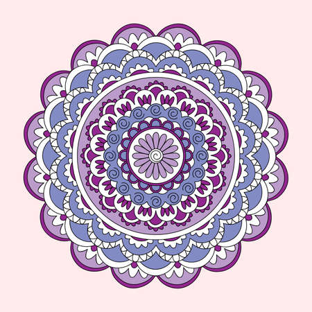 Colorful mandala with hand drawn arabesky elements. Isolated mandala on the pink. Mandala print for decorate home, cards, dishes, porcelain, femine clothes, stationery, cases, bags.