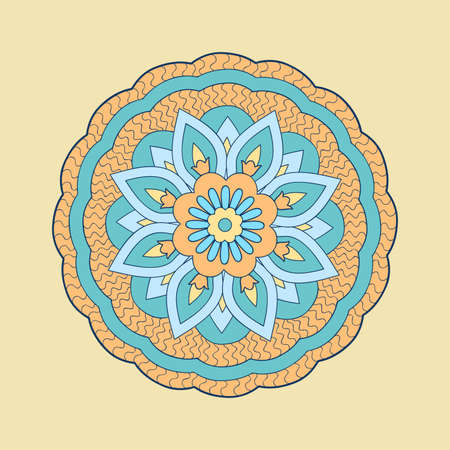 Colorful mandala with hand drawn arabesky elements. Isolated mandala on the beige. Mandala print for decorate home, cards, dishes, porcelain, femine clothes, stationery, cases, bags. 스톡 콘텐츠 - 151581792