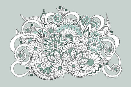 Hand drawn zen tangled floral composition  for decorate cards, dishes,  porcelain, stationery, cases. eps 10.