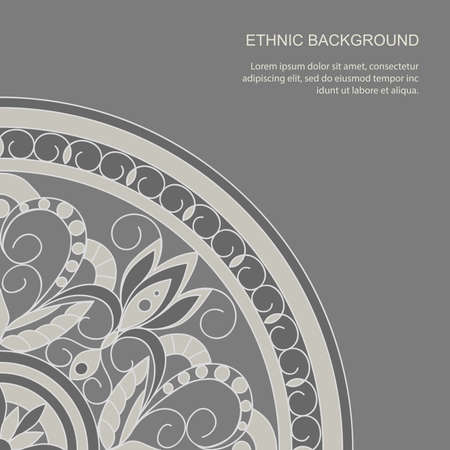 Mandala grey background  with elements in arabic, Indian, ethnic motifs. Backdrop for decorate invitation, greeting and visit card,  stationery,  gift paper, cover album and books. eps 10 일러스트