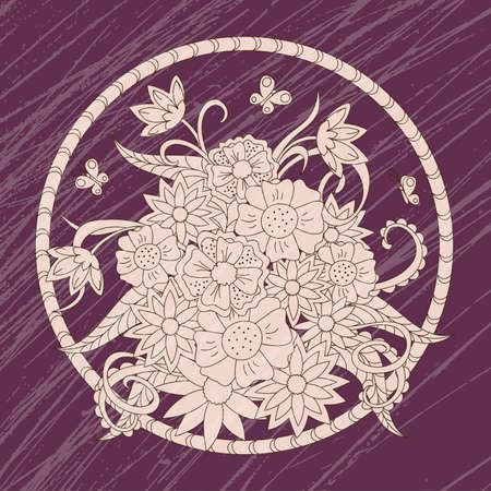 Hand drawn floral composition with mandala on the vinous grunge for canvas print, decorate wall; cards, dishes, porcelain, femine clothes, stationery, cases, bags. eps 10.