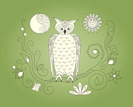 Hand drawn doodle composition with owl, moon and sun symbols for canvas print, decorate home, wall, cover coloring and drawing album, notebook, stationery, cases, bags. eps 10. 일러스트