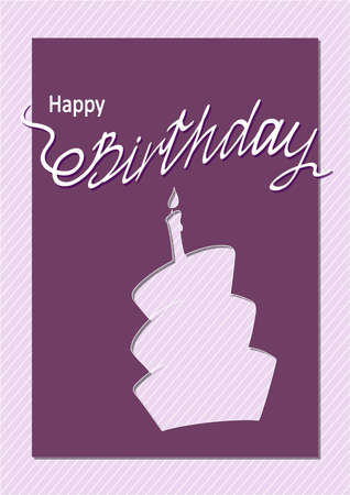 Creative birthday card with handwritten inscription Happy Birthday and cake's doodle silhouette on the line patterned background. eps10.