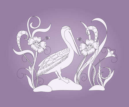 Hand drawn doodle composition with pelican and flowers for canvas print, decorate home, wall, cover coloring and drawing album, notebook, stationery, cases, bags. eps 10.