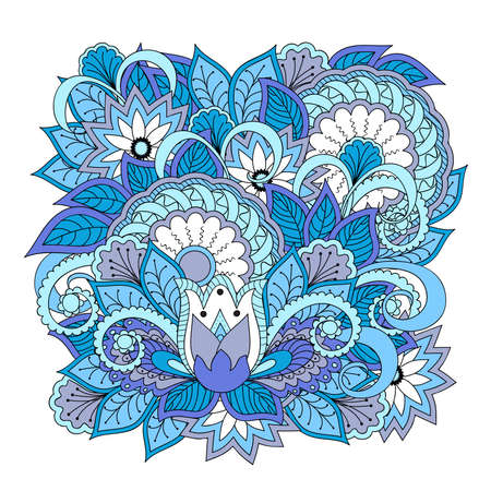 Hand drawn blue composition in boho style with mandalas and flowers for backdrop of visit card, decorate dishes, cup, porcelain, cases, laptop skins, stationery. Isolated on white background. eps 10. Illustration