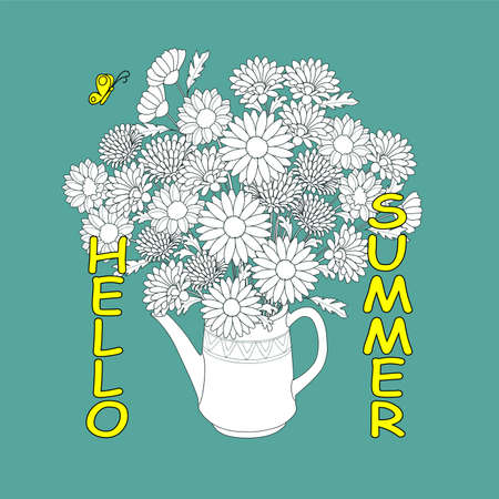 Monochrome floral bouquet in the teapot with yellow butterfly and text Hello summer. Print for card, decorate t-shirt, tunic, apparel. 일러스트