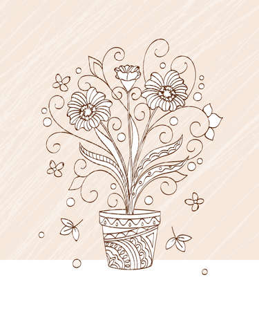 Vintage greeting card with hand drawn flower  in the pot  for decoration, wall art on grange background. 스톡 콘텐츠 - 151582248
