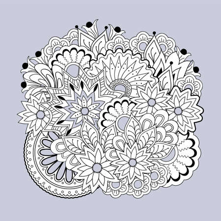 Hand drawn zen tangled floral composition with mandalas  for home art, decorate cards, dishes,  porcelain, femine clothes, stationery, cases, bags. eps 10.