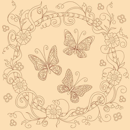 Hand drawn doodle composition with floral mandala and  butterflies in boho style for invitation, greeting card, decorate  stationary, dishes, porcelain, ceramics. eps 10