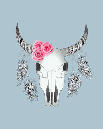 Colorful card with hand drawn patterned cow skull and pink roses on the blue background in boho style for decoration, wall art. 스톡 콘텐츠 - 151582251