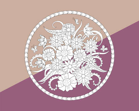 Hand drawn  floral composition into the round for decorate cards, dishes,  porcelain, stationery, cases. eps 10.