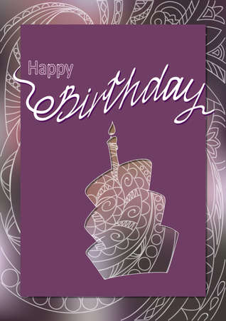 Creative birthday card with handwritten inscription Happy Birthday and cake's doodle silhouette on the hand drawn patterned background. eps10.