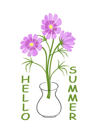 Postcard with three camomiles in contour vase and text Hello Summer. Isolated print for t-shirt, tunic or decorate. 스톡 콘텐츠 - 151603691