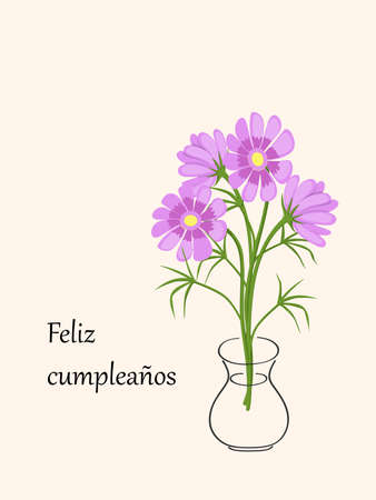 Birthday or invitation card with camomiles in the vase and spanish language text Feliz Cumpleaños. Simple design for print  festive dishes, gift packing and decorate party events.