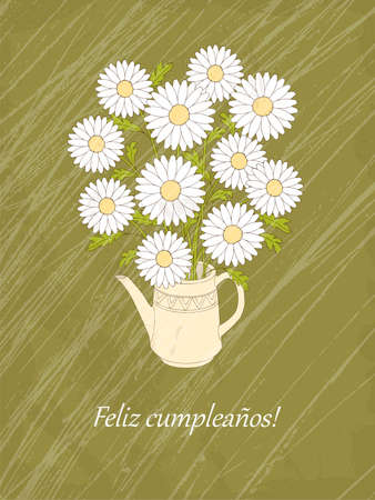 Vintage birthday or invitation card with chamomiles in the teapot and spanish language text Feliz Cumpleaños. Print for festive dishes, gift packing and decorate tea party events.
