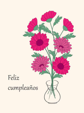 Birthday or invitation card with bouquet of dahlias in the vase and spanish language text Feliz Cumpleaños. Print for festive dishes, gift packing and decorate party events. 일러스트