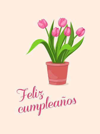 Birthday or invitation card with bouquet of tulips in the pot and spanish language text Feliz Cumpleaños. Print for festive dishes, gift packing and decorate party events. 스톡 콘텐츠 - 151604529