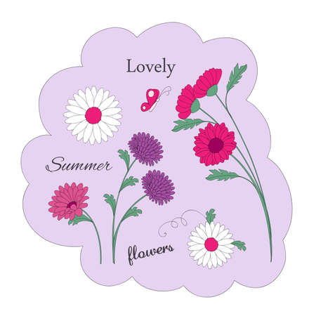 Image with floral composition and words lovely, flowers and summer. Isolated print for t-shirt, tunic or decorate dishes, wall and stationery. 일러스트