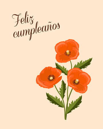 Birthday or invitation card with three red poppies and spanish language text Feliz Cumpleaños. Simple design for print  festive dishes, gift packing and decorate party events. 스톡 콘텐츠 - 151604577