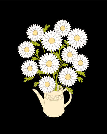Birthday or tea party invitation card with chamomiles in the teapot on the black background. Print for home art, decorate.