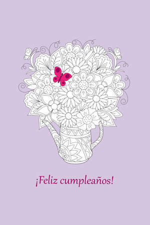 Birthday or invitation card with floral bouquet in the teapot and spanish language text Feliz Cumpleaños. Print for festive dishes, gift packing and decorate tea party events.