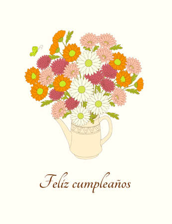 Birthday or invitation card with bouquet of camomiles in the teapot and spanish language text Feliz Cumpleaños. Print for festive dishes, gift packing and decorate party events. 스톡 콘텐츠 - 151604605