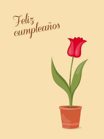 Birthday or invitation card with tulip in the pot and spanish language text Feliz Cumpleaños. Print for festive dishes, gift packing and decorate party events. 스톡 콘텐츠 - 151604611