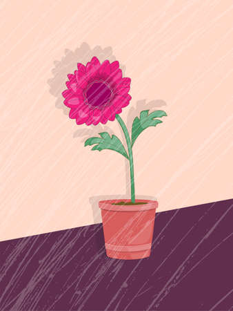Vintage card with dahlia in the pot on the grunge background. Print for home art, decorate.