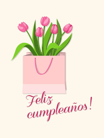 Birthday or invitation card with bouquet of tulips in the bag and spanish language text Feliz Cumpleaños. Print for festive dishes, gift packing and decorate party events. 일러스트