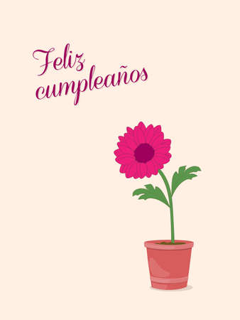 Birthday or invitation card with dahlia in the pot and spanish language text Feliz Cumpleaños. Print for festive dishes, gift packing and decorate party events.