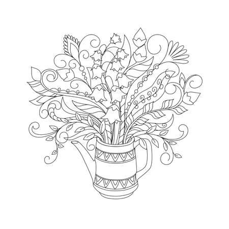 White teapot with ornamental lines and hand drawn doodle floral bouquet. Monochrome contour illustration for greeting, invitation card, adult coloring book,  home decor, decorate tea party. 스톡 콘텐츠 - 151604741