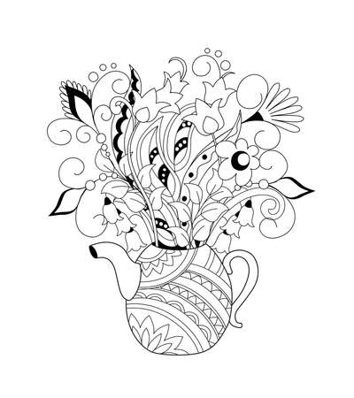Ornamental teapot with hand drawn doodle flowers. Monochrome contour illustration for greeting, invitation card, adult coloring book,  home decor, decorate tea party, furniture, bag, dishes.
