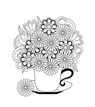 Contour drawn cup with flowers. Monochrome illustration for greeting card,  tea party invitation, adult anti stress coloring book,  home art, decorate t-shirt, tunic, bag, dishes, wall mural. 스톡 콘텐츠 - 151604858