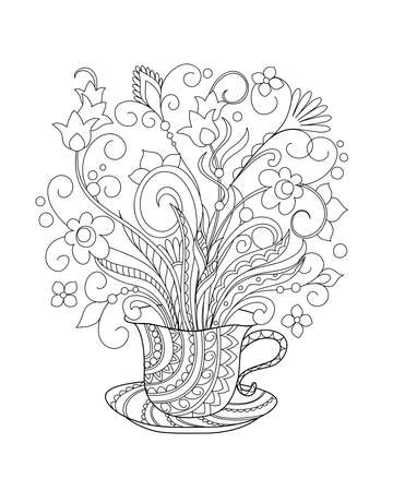 Ornamental cup with hand drawn doodle flowers. Monochrome contour illustration for greeting, invitation card, adult coloring book,  home decor, decorate tea party, furniture, bag, dishes.