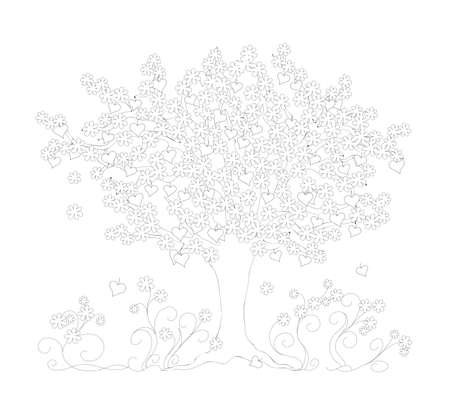 Outline drawing tree with heart symbols and flowers on the white background. Monochrome illustration for adult and children coloring book, Valentine's Day card, decorate wall, romantic holiday.