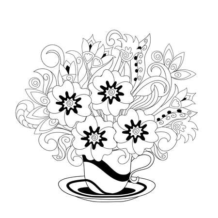 White cup with black lines and hand drawn doodle floral bouquet. Monochrome contour illustration for greeting, invitation card, adult coloring book,  home decor, decorate tea party, furniture, bag, dishes.