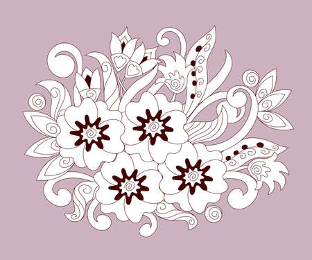 Hand drawn abstract doodle flowers isolated on pink background. Monochrome contour illustration for home mural decor, decorate furniture, bag, dishes, pattern for clothes textile, t-shirt.