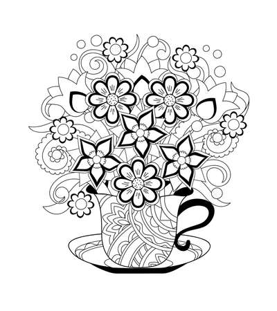 Ornamental cup with hand drawn floral  bouquet. Monochrome contour illustration for greeting, invitation card, adult coloring book,  home decor, decorate tea party, furniture, bag, dishes. 일러스트