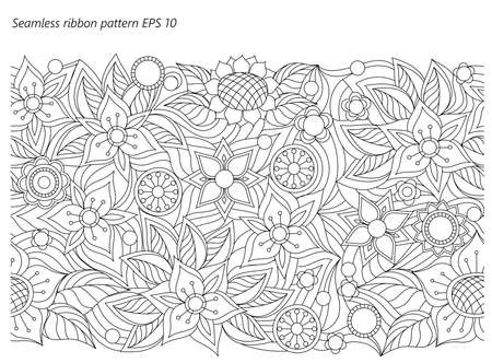Seamless ribbon floral background with hand drawn pattern in boho style. Isolated page for adult coloring antistress, decorate the wall, dishes, porcelain.