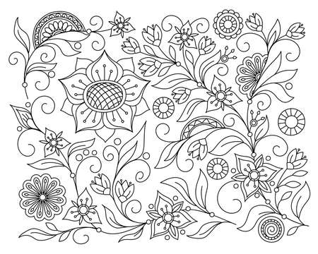Abstract floral background with hand drawn pattern in boho style. Isolated page for adult coloring anti-stress book, decorate the wall, dishes, porcelain, fabric. Contour monochrome pattern. eps 10 일러스트
