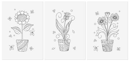 Set of three monochrome cards with contour isolated flowers in the pots. Black and white illustrations for anti-stress therapy, adult coloring book, greeting and invitation cards. eps 10