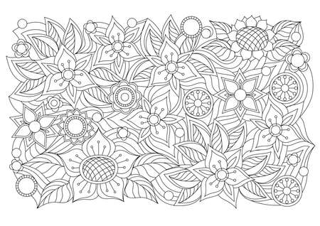 Abstract floral background with hand drawn pattern in boho style. Isolated page for adult coloring anti-stress book, decorate the wall, dishes, porcelain, fabric.