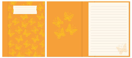 Colorful cover design with  contour drawing seamless pattern yellow butterflies for decorate notebook, sketchbook, copybook, album, diary. 일러스트