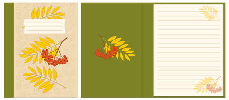 Colorful cover design with rowanberry twigs and contour drawing autumn leaves pattern for decorate notebook, sketchbook, copybook, album, diary. Cover A5 school notebook template with interior. EPS 10 일러스트