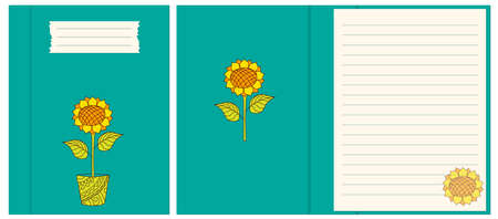 Colorful cover design with hand drawn sunflower in the pot for decorate notebook, sketchbook, copybook, album, diary. Cover A5 school notebook template with interior. EPS 10 일러스트