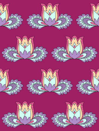 Colorful floral seamless pattern in boho style with hand drawn zen lotus for packing gift, present, pack paper, textile print, fabric pattern.