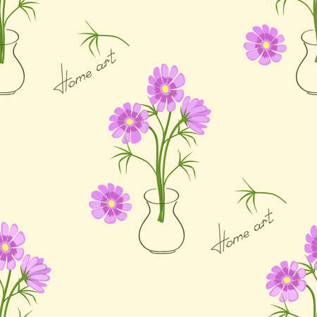 Beige seamless pattern with hand drawn camomiles in the vase and text Home art  for wallpaper, packing gift, present, pack paper, textile print, fabric pattern.