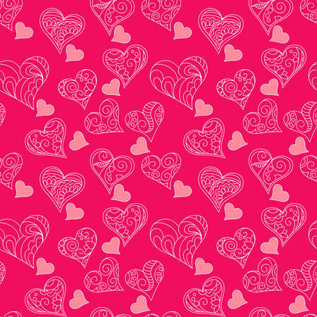 Pink valentine  seamless pattern  with hand drawn patterned  hearts for packing valentine's day gift, present, pack paper, textile print, fabric pattern.