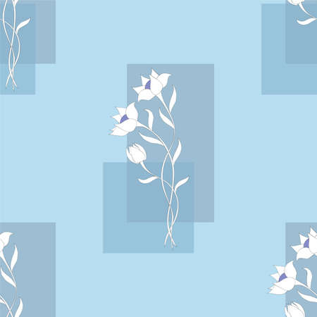Blue seamless pattern with hand drawn doodle white flowers on the rectangles for wallpaper, packing gift, present, pack paper, textile print, fabric pattern.